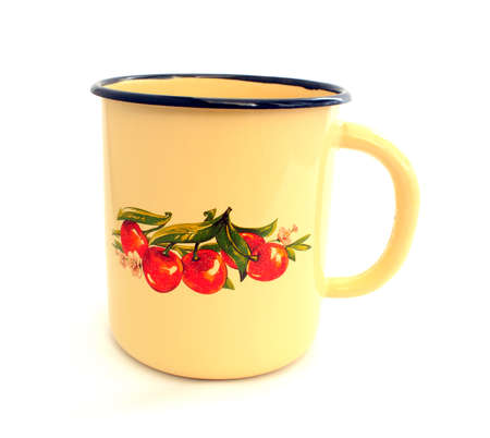 Enameled beige mug with a picture of cherries photo