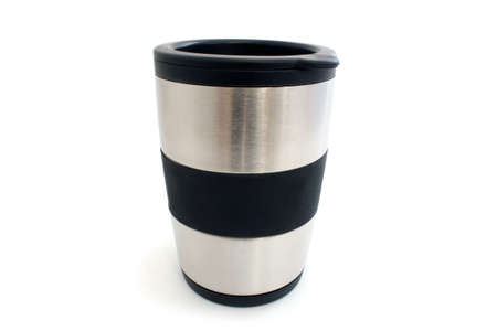 maintains: Mug maintains the temperature for coffee on a white  Stock Photo