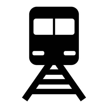 Station, Train Black Icon Vector  イラスト・ベクター素材