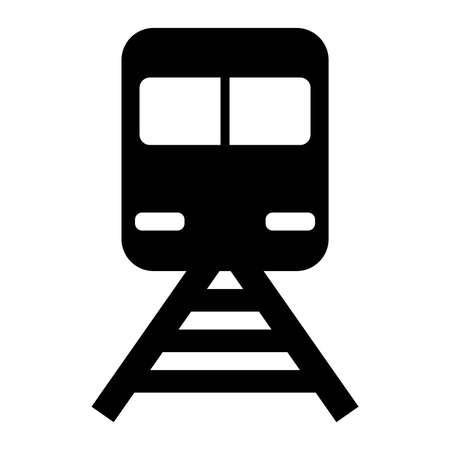Station, Train Black Icon Vector Illusztráció
