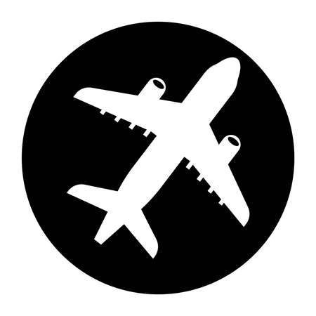Airplane Icon Black Vector Çizim