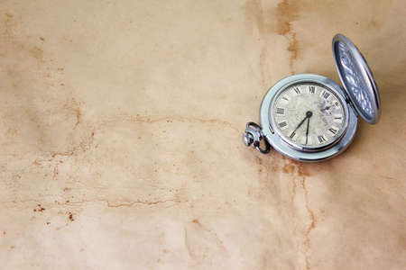 grandfather clock: antique clock on the old dirty parchment  Stock Photo