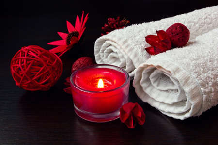 spa stuff: red candle and spa stuff