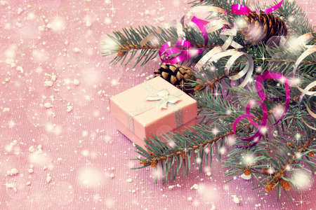 Pale Pink Gift Box And Christmas Decorations Photo