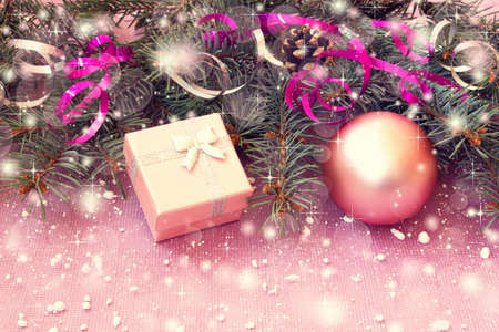 Cute Pale Pink Gift Box And Christmas Decorations Photo