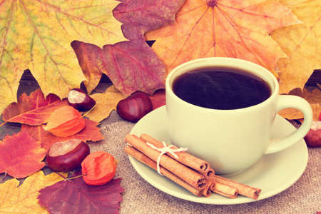 cozy cup of coffee on an autumn background close up  photo