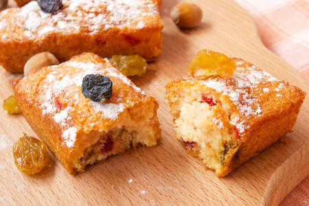 baked fruitcake with raisins  photo