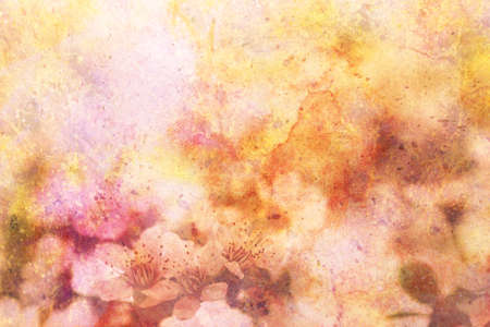 apricot tree: artwork with blooming apricot tree branches and watercolor strokes