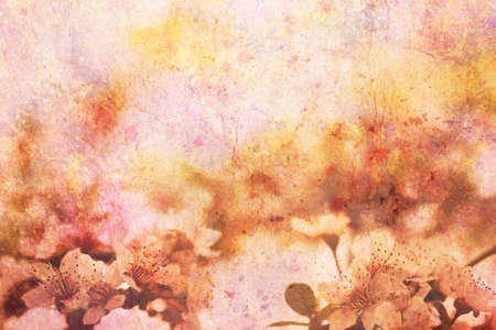 apricot tree: artwork with blooming apricot tree branches and watercolor smudges
