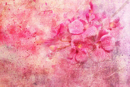 Pink orchids and watercolor splashes  photo
