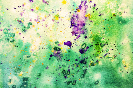 smudges: bright green and purple watercolor smudges  Stock Photo