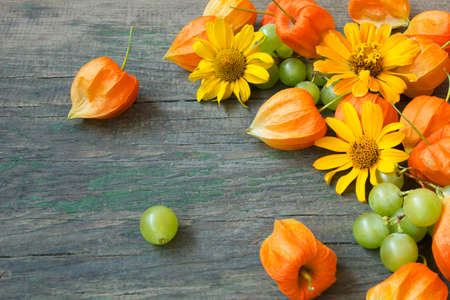 beautiful bright autumn background with cape gooseberries, grapes and flowers  photo