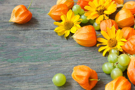 beautiful autumn background with cape gooseberries, grapes and flowers  photo
