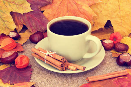 warming sweet coffee and autumnal leaves photo