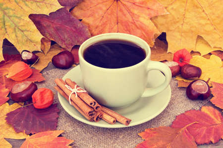 warming black coffee and autumnal leaves photo