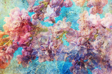 messy watercolor splashes and gentle lilac twigs