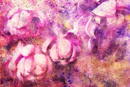 gentle: watercolor splatter and gentle lilac buds