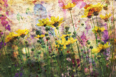 scenics: cute yellow flowers and watercolor spatter