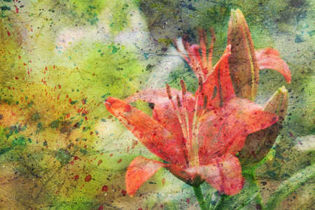 artwork with red lily flowers