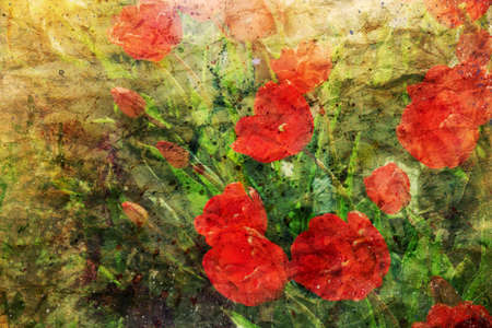 canvas background: artwork with cute red tulips and watercolor splashes Stock Photo