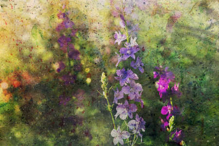 watercolor artwork with cute delphinium flowers Standard-Bild