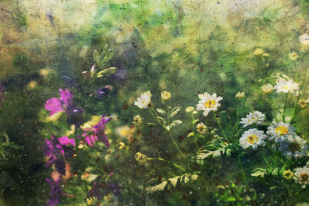 watercolor artwork with blooming flowers