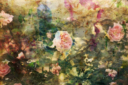 artwork with blooming pink roses and watercolor splashes