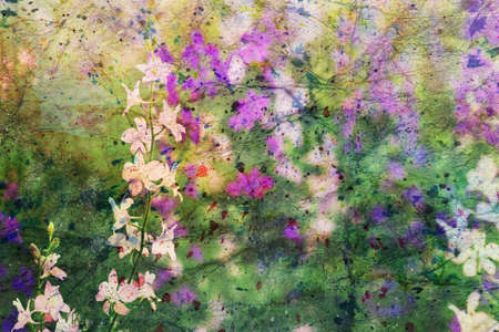 gentle pink and purple delphinium flowers and watercolor spatter