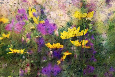 watercolor artwork with summer garden flowers