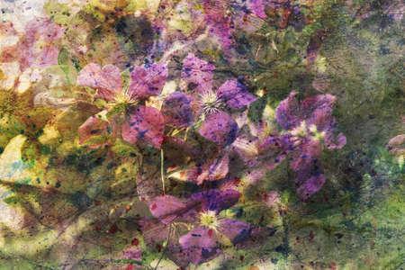 artwork with purple clematis flowers Standard-Bild