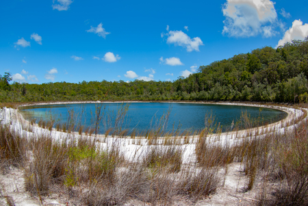 Fraser Island is dotted with many small inland lakes, all of them crystal clear water and perfect white sand beaches.