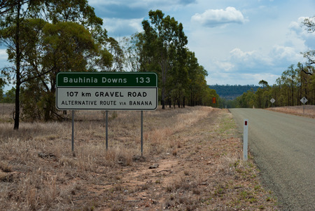 A sign for a gravel road in outback Australia