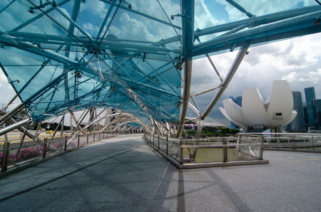 The Marina Bay Sands hotel and Helix Bridge, Singapore at Christmas time