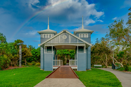 A colorful and cute public toilet in Town of Seaside, Marcoola, Australia looks like something from a set of the Truman Show