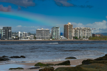 Maroochydore apartments skyline as seen from the North Shore Beach, Queensland, Australia