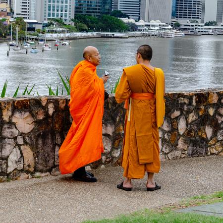 Buddhist Monks enjoying the views of Brisbane city centre