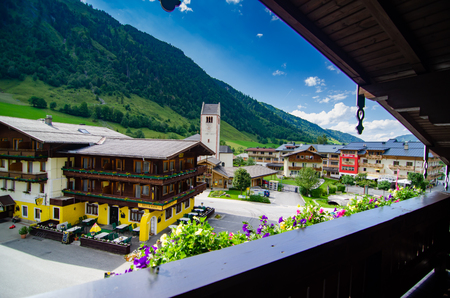The pretty and colourful town of Oberreiter, Fusch, Austria as seen from a hotel balcony