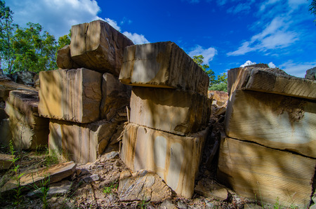 Blocks of sandstone mined from a quarry in Queensland, Australia