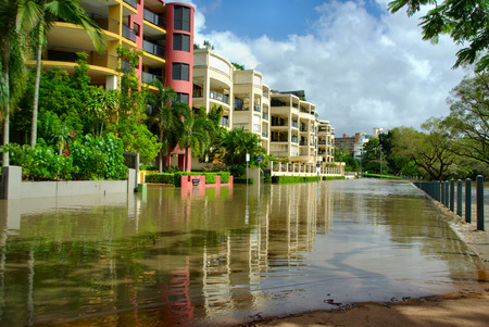 The 2010-11 Brisbane floods caused a lot of damage. Here a street is submerged in deep floodwater in Kangaroo Point, Brisbane