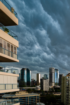 Brisbane has frequent, large thunderstorms throughout summer due to its hot and humid conditions. Here is another storm approaching the city centre.