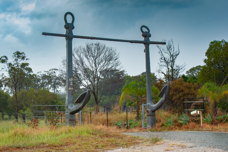 Incredible engineering and work must have been used to create this amazing ship anchor entrance to an Asutralian outback lot.