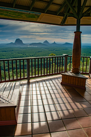 A virew of the Glasshouse Mountains from the Wild Horse Lookout, Queensland.