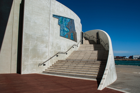 Impressive modern architecture with sweeping stairs of the WA Maritime Museum