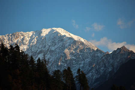 One of the snow capped peaks of Himalay en route to Kasol, Himachal Pradesh, India.