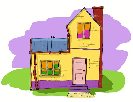 family in front of house: A warm and cozy two story village house  Vector hand dawn illustration  Illustration