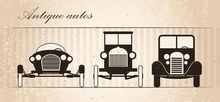 silueta coche: Conjunto de tres autom�viles retro