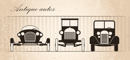 white car: Set di tre automobili retr� Vettoriali