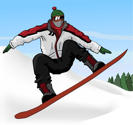 Jumping snowboarder Vector
