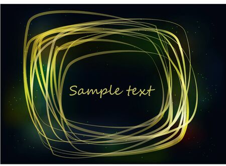diffused: Yellow bright strokes forming an abstract frame on a dark background Illustration