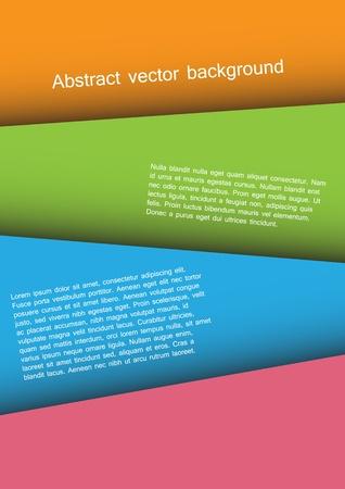 Fond de papier coloré. Quatre espaces réservés sur différentes feuilles Vecteur d'image au-dessus.